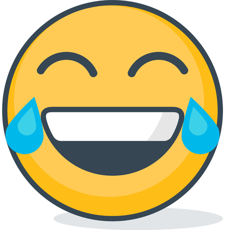 Isolated laughing emoticon. Isolated emoticon Vector illustration.