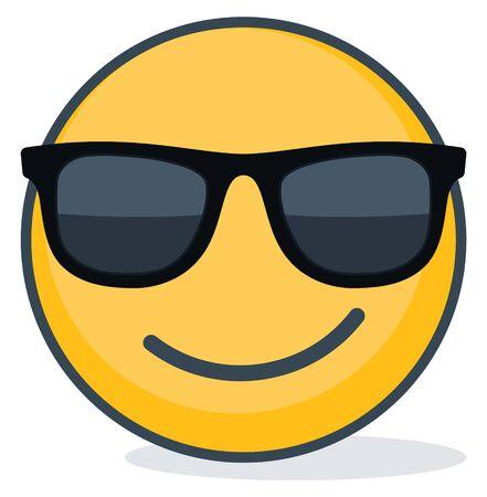 Isolated emoticon wearing black sunglasses. Isolated emoticon.