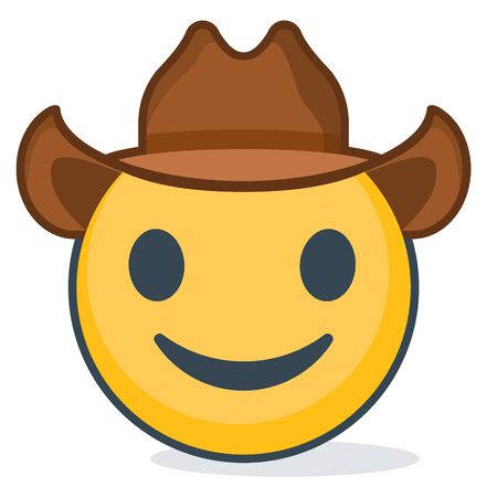 Isolated emoticon wearing cowboy hat. Isolated emoticon Vector illustration.