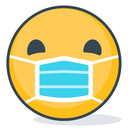 Isolated emoticon wearing medical mask. Isolated emoticon.