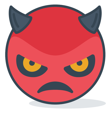 Isolated angry evil emoticon. Isolated emoticon.