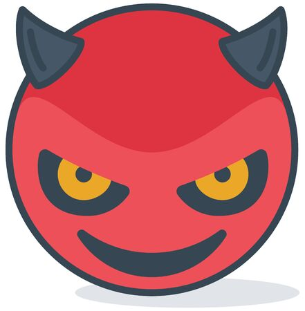 Isolated evil smiling emoticon. Isolated emoticon.