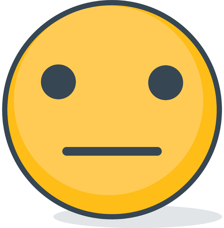 Isolated neutral emoticon. Isolated emoticon.
