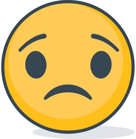 Isolated sad emoticon. Isolated emoticon on white background.