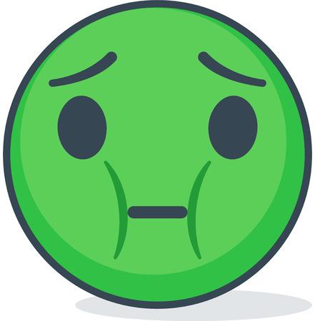 Geïsoleerde zieke emoticon. Geïsoleerde emoticon op witte achtergrond.