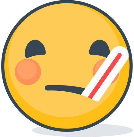 Isolated sick emoticon with thermometer. Isolated emoticon on white background.  イラスト・ベクター素材