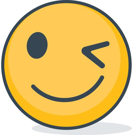 Isolated winking emoticon. Isolated emoticon.