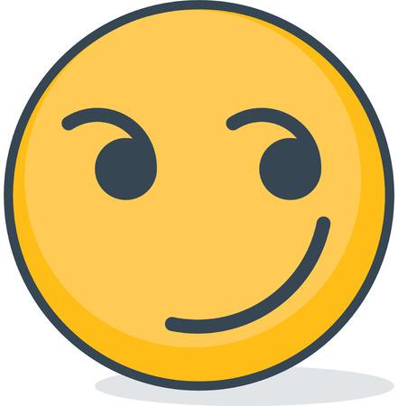 Isolated smirk emoticon. Isolated emoticon.