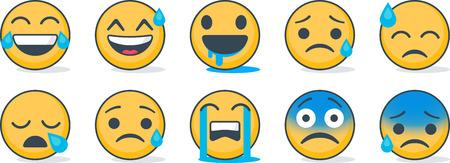 Set of Emoticons. Set of Emoji. Isolated emoji.