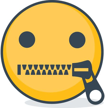 Isolated zipped mouth emoticon. Isolated emoticon on white background.