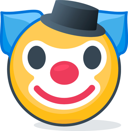 Isolated clown emoticon. Isolated emoticon on white background. Иллюстрация