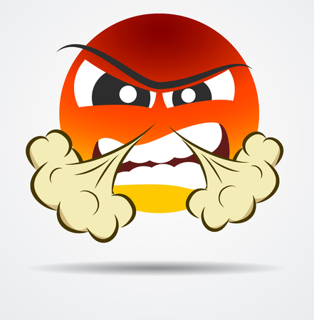 Isolated Anger emoticon in a flat design. Isolated emoticon.