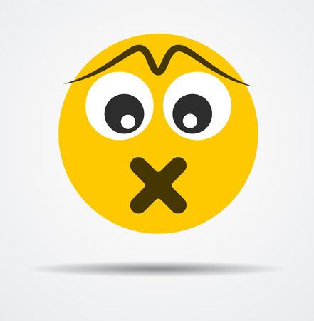 Isolated Silent emoticon in a flat design. Isolated emoticon.