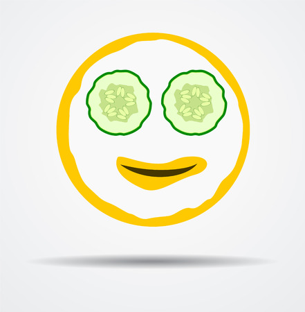 Isolated Emoticon with cosmetic mask in a flat design