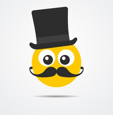 Isolated Gentleman emoticon in a flat design Иллюстрация