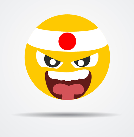 Isolated Kamikaze emoticon in a flat design