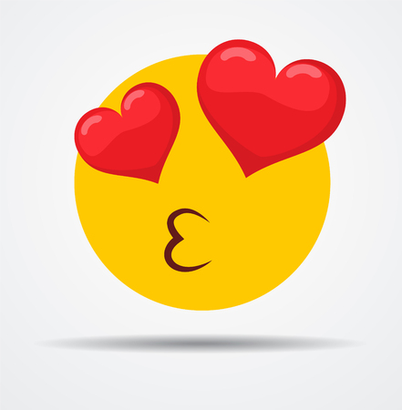 Isolated Kissing emoticon in a flat design Иллюстрация