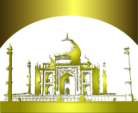 Golden Taj mahal in night, India Vector