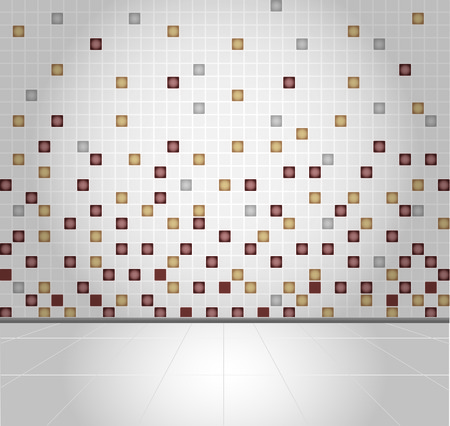 chipped: Background wall and Brown Mosaic Tiles Illustration