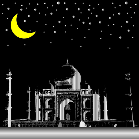 Silver Taj mahal in night, India Vector