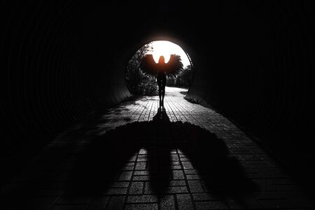 black wings: Angel silhouette with shadow in the tunnel.