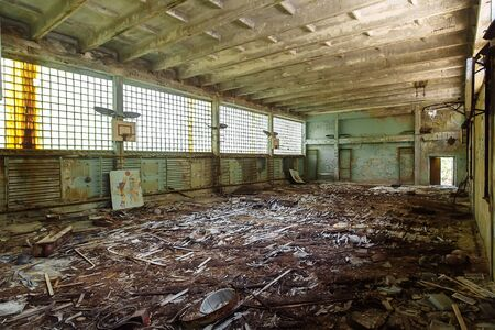 Abandoned school gym in ghost town Pripyat Chornobyl Zone, radiation, nuclear catastrofe
