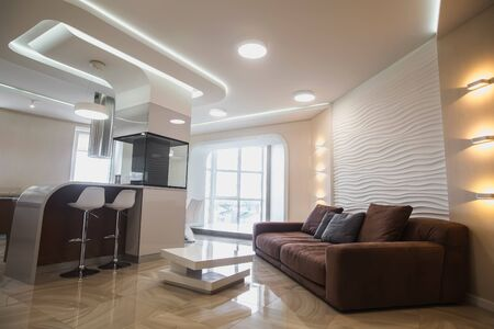 Beautiful modern apartment interier. Real estate concept. Nice real designed interior. 스톡 콘텐츠