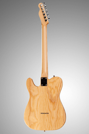 humbucker: Wooden telecaster form six string guitar on neutral background