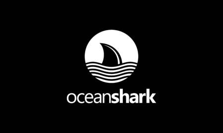 illustration logo combination from letter O with ocean concept and shark logo design inspiration