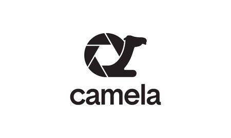 illustration logo from camera lens with camel logo design concept