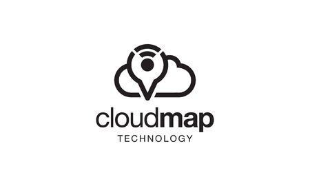 illustration logo combination from cloud with map pin or location with signal logo design concept
