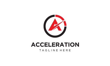 illustration logo combination from letter A with acceleration or speedometer logo design concept