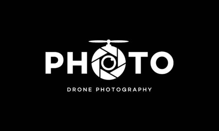 illustration wordmark logo from photo drone photography vector logo design concept