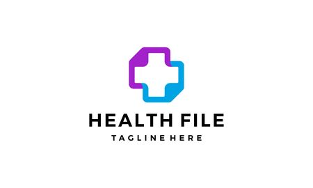 health file document medical connection logo design concept
