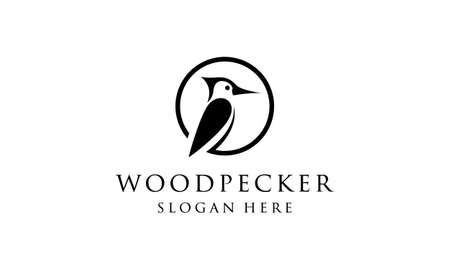 woodpecker black circle vector icon logo design template
