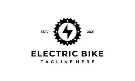 electric gear bike mechanical engineering logo design template