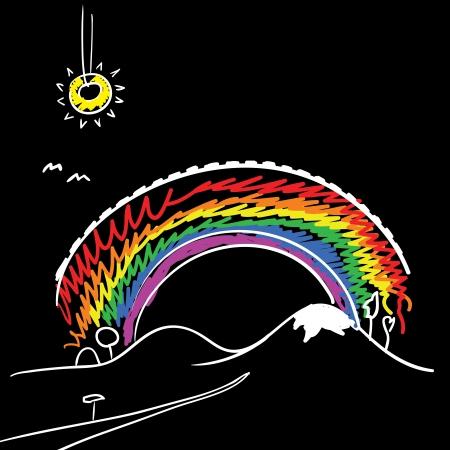 Rainbow and sun Vector