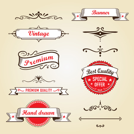Set of retro banners and labels Ilustracja