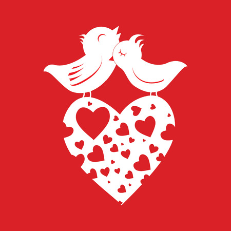 Lover Birds On Heart Vector