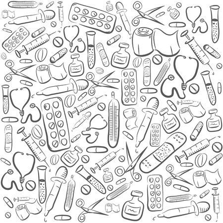 curative: Hand Drawn Medical Background