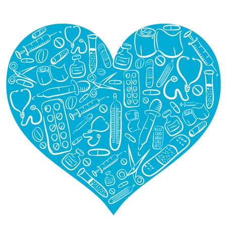 stethoscope heart: Hand Drawn Blue Medical Heart