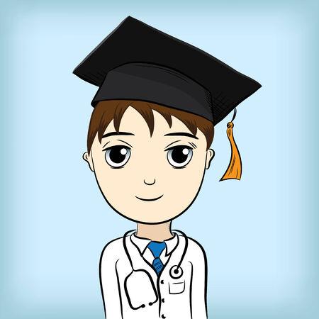 stethoscope boy: Medical Education Graduate Illustration