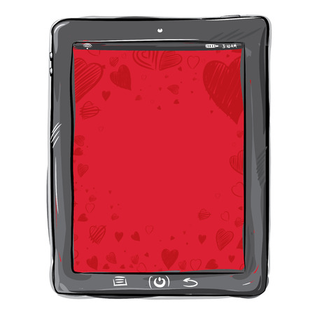 tablet pc in hand: Love Pad Illustration