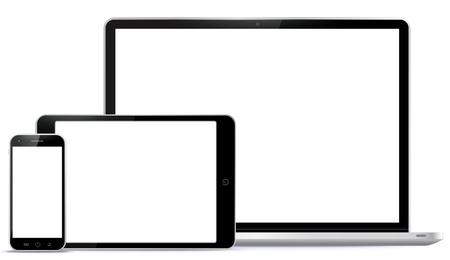 Notebook, tablet-pc, mobiele telefoon Vector illustratie.