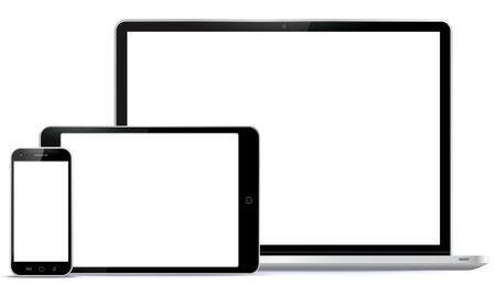 blank tablet: Notebook, Tablet PC, Mobile Phone Vector illustration.