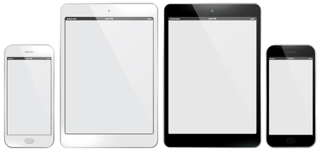 Tablet PC and Mobile Phone Set Vector illustration.
