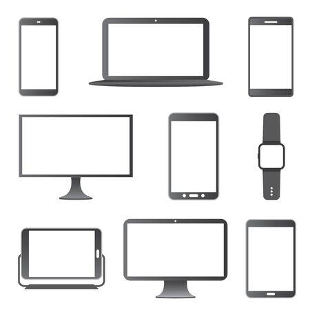 Electronic Devices Icon Set. Illustration
