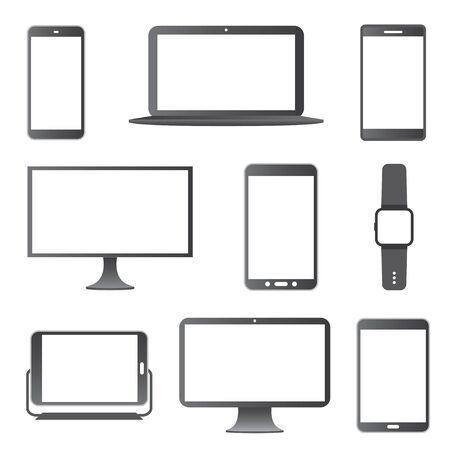 watch: Electronic Devices Icon Set. Illustration