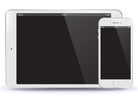 Tablet PC en mobiele telefoon Vector illustratie.