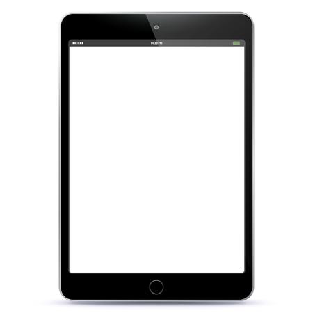 黒い空白の画面を持つベクター グラフィック タブレット PC。